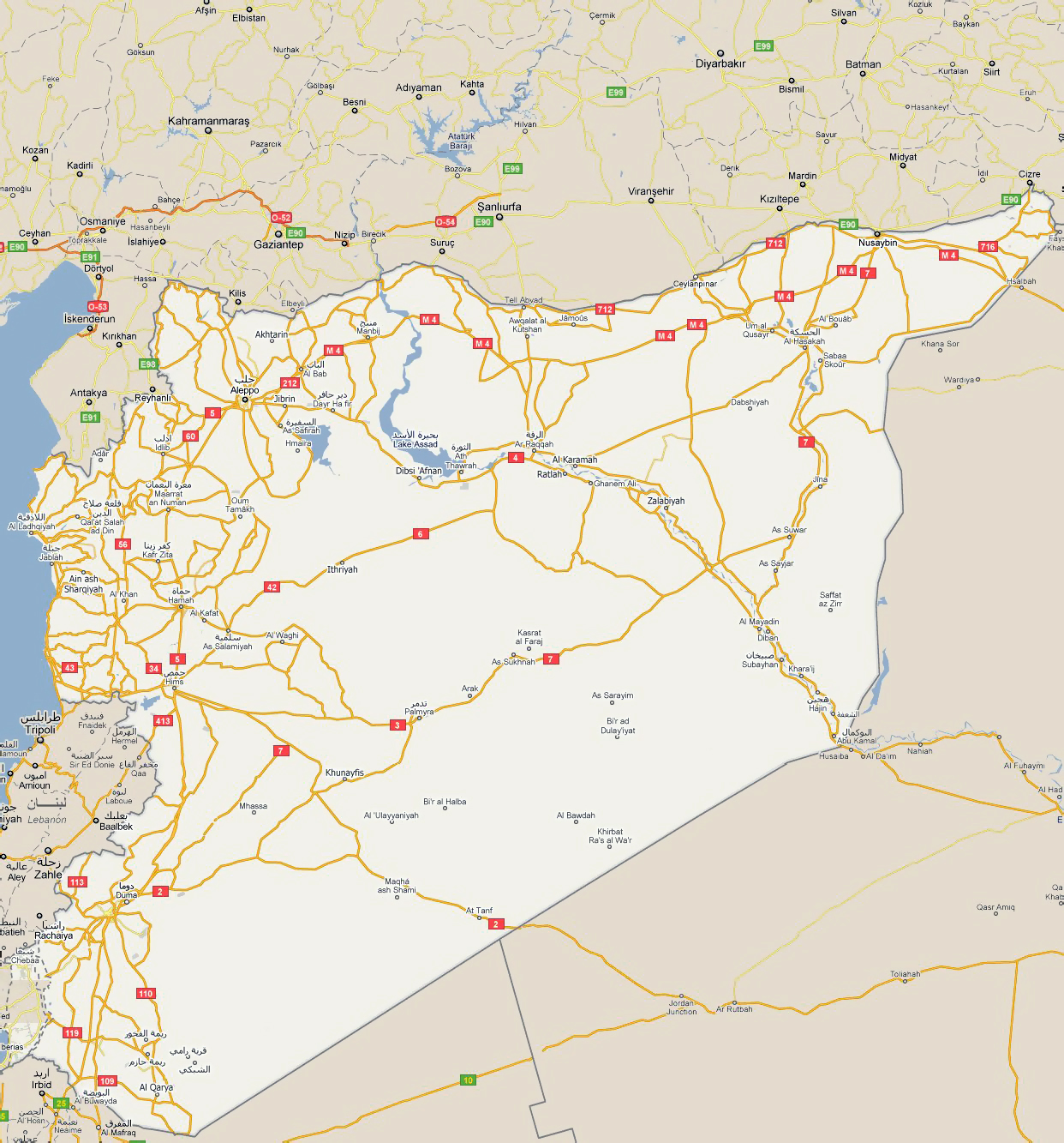 Detailed road map of Syria with all cities Syria Asia Mapsland