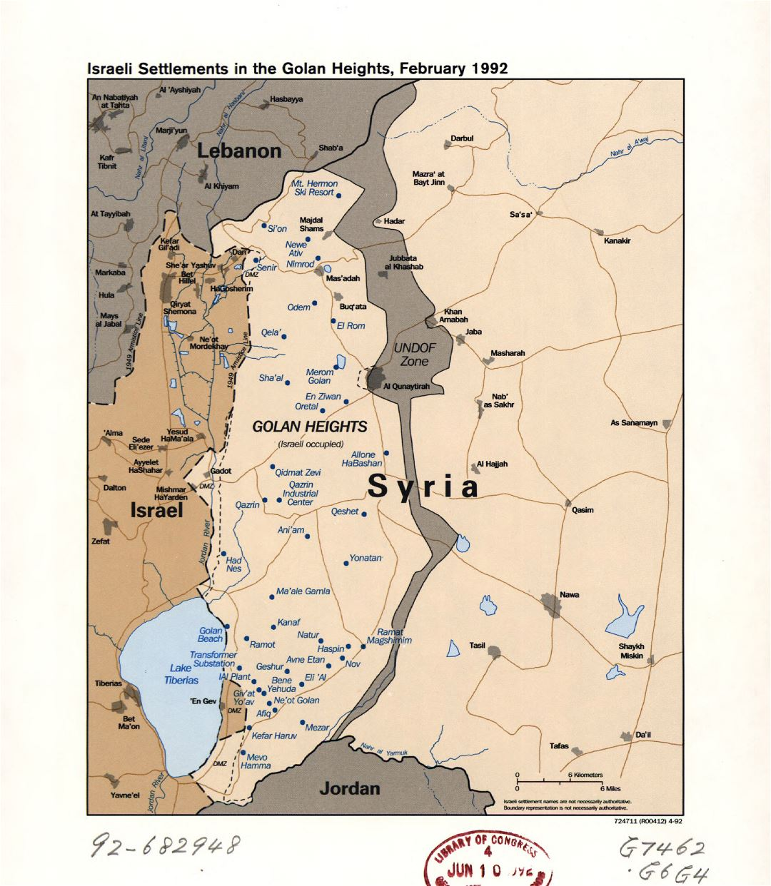 Large detailed map of the Israeli Settlements in the Golan Heights - 1992