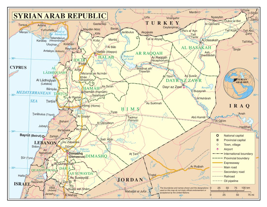Large detailed political and administrative map of Syria with roads, railroads, cities and airports