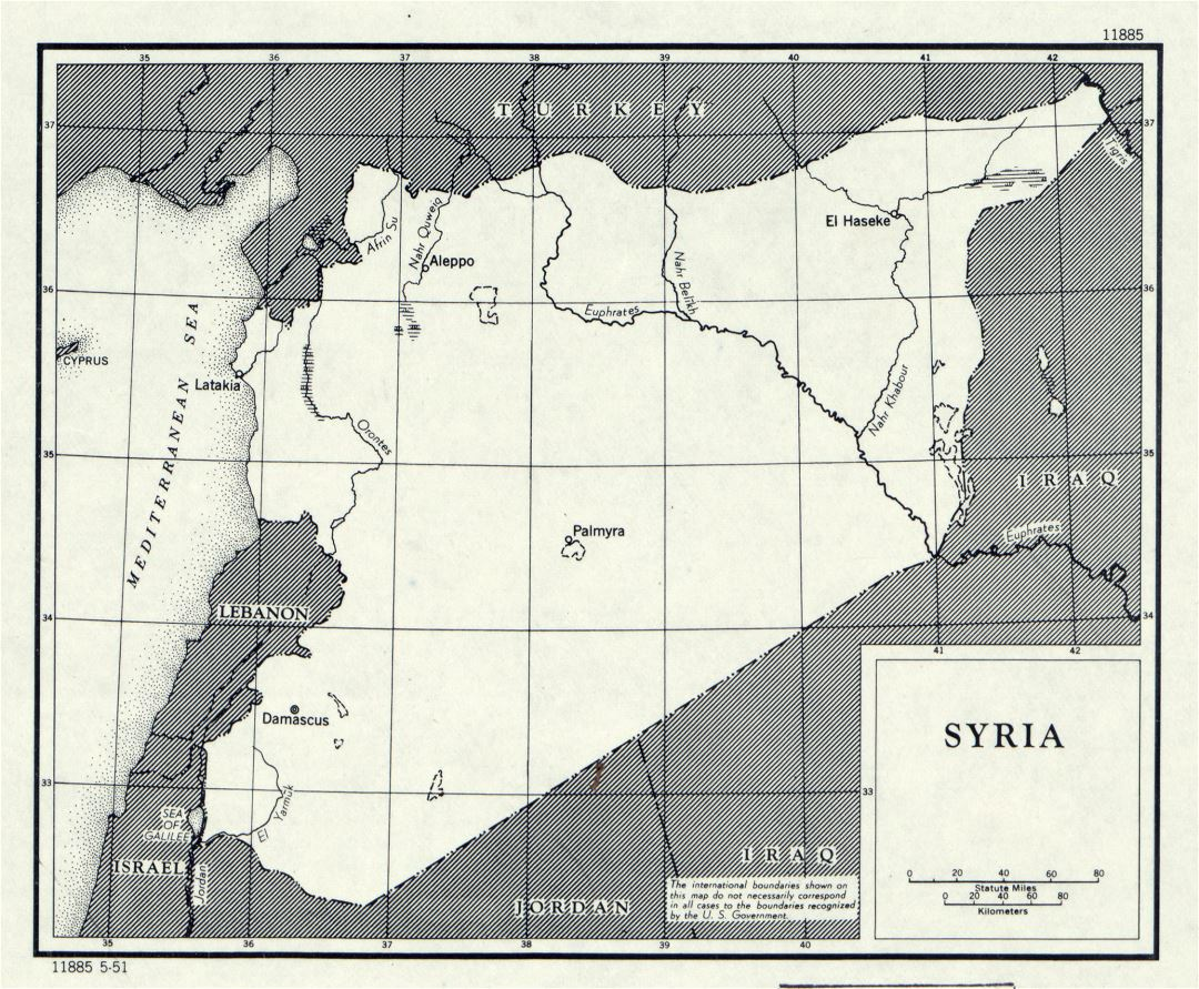 Large detailed political map of Syria - 1951