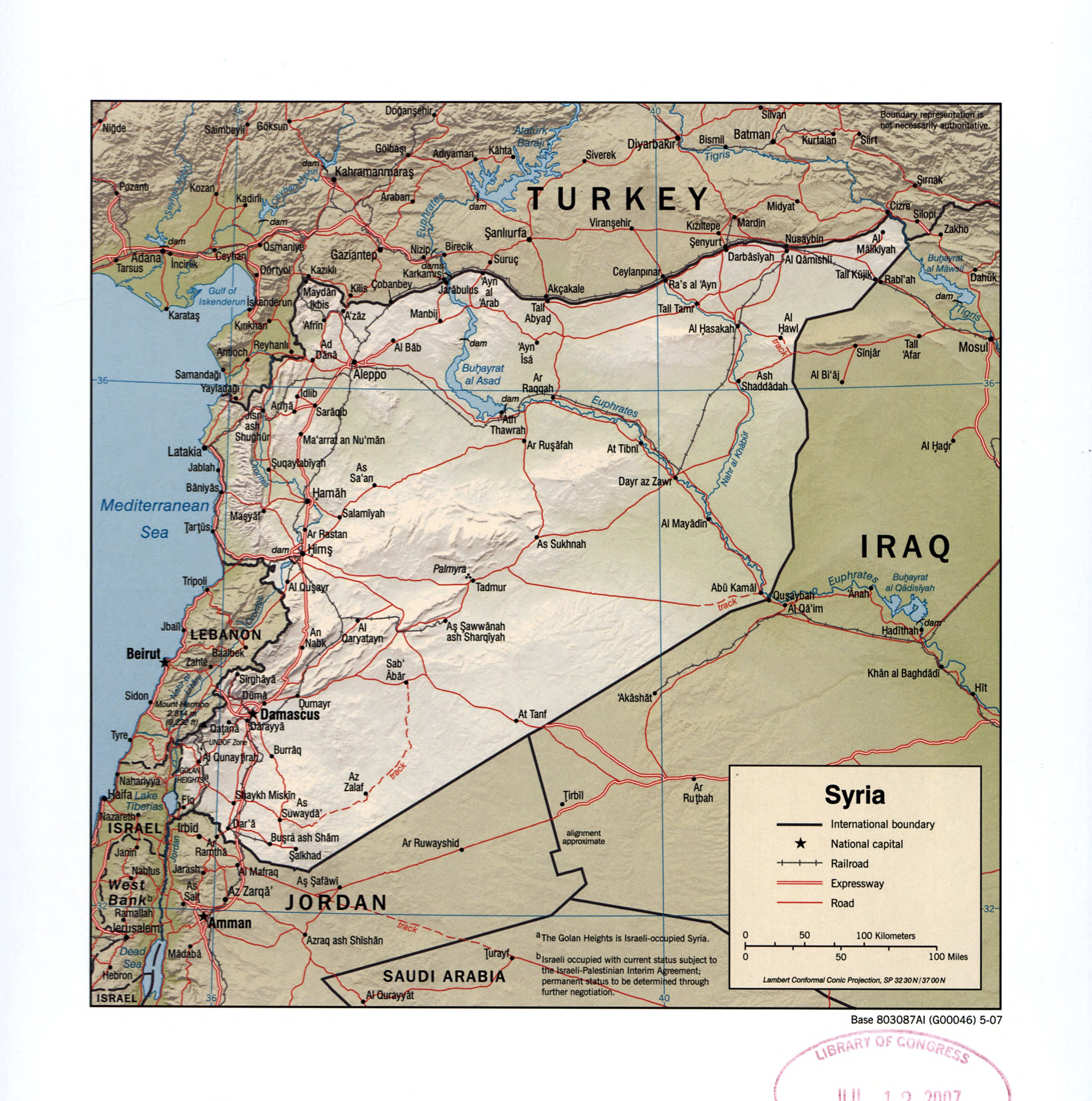 Large detailed political map of Syria with relief roads railroads