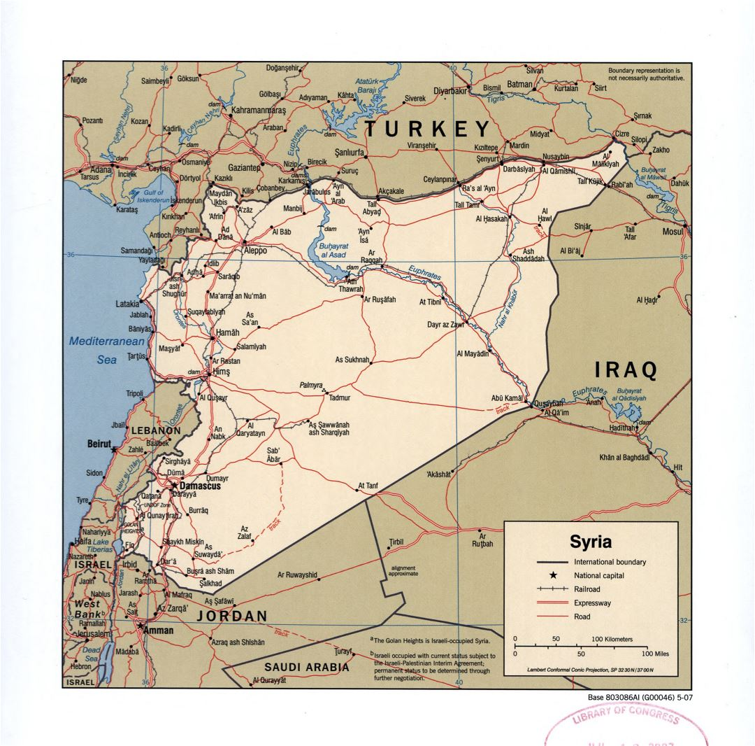 Large detailed political map of Syria with roads, railroads and cities - 2007