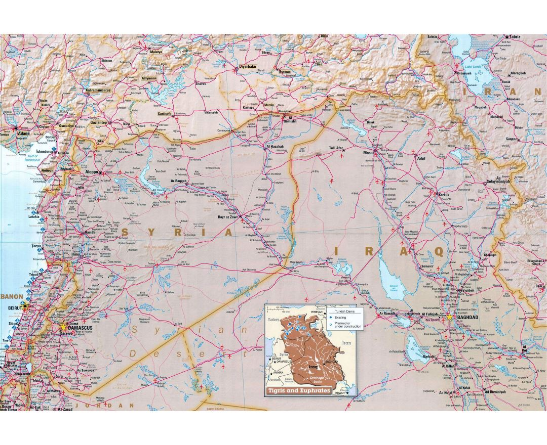 Large map of Syria with relief, roads, airports and other marks