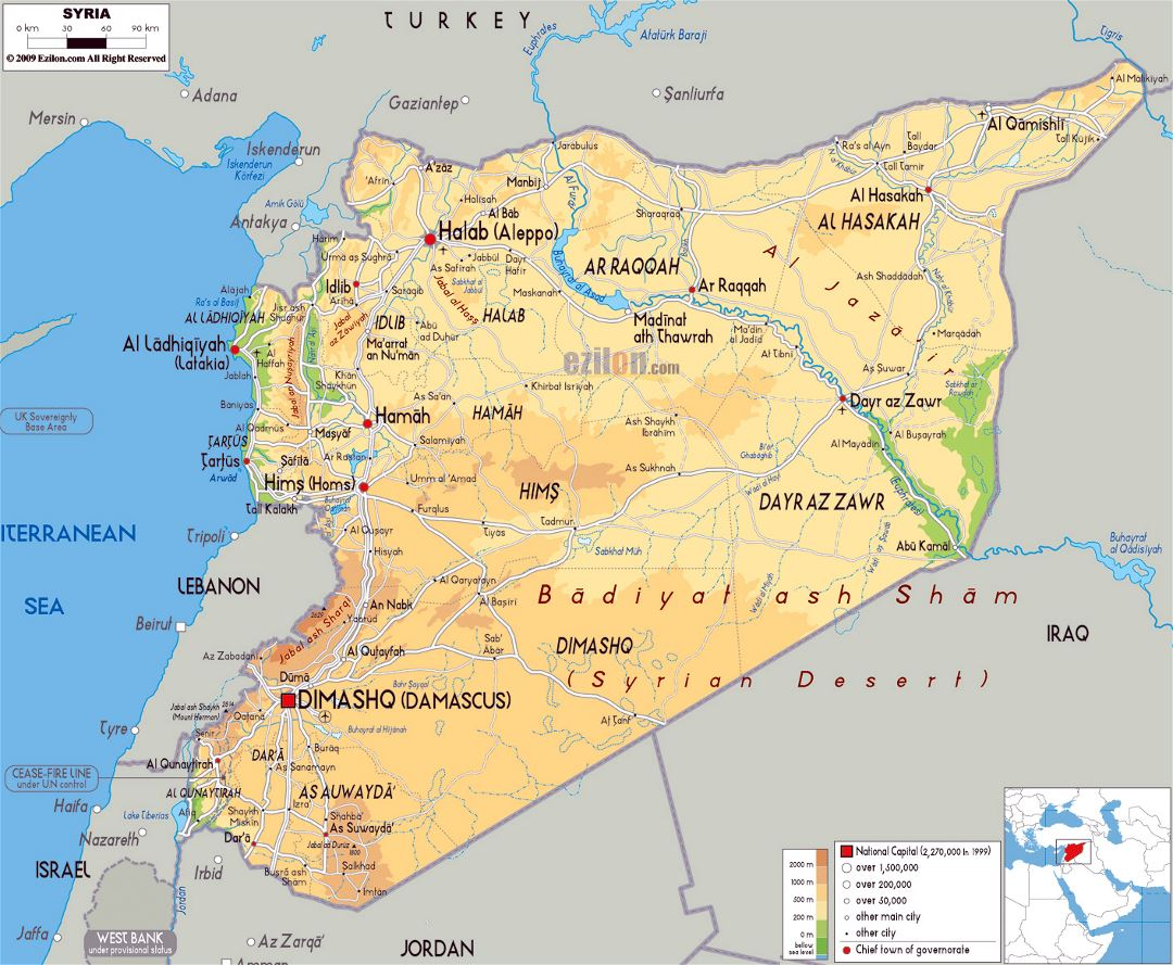 Large physical map of Syria with roads, cities and airports