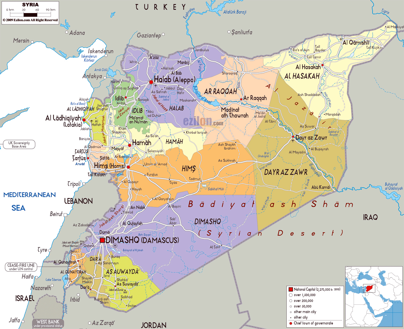 Large political and administrative map of Syria with roads cities and airpor