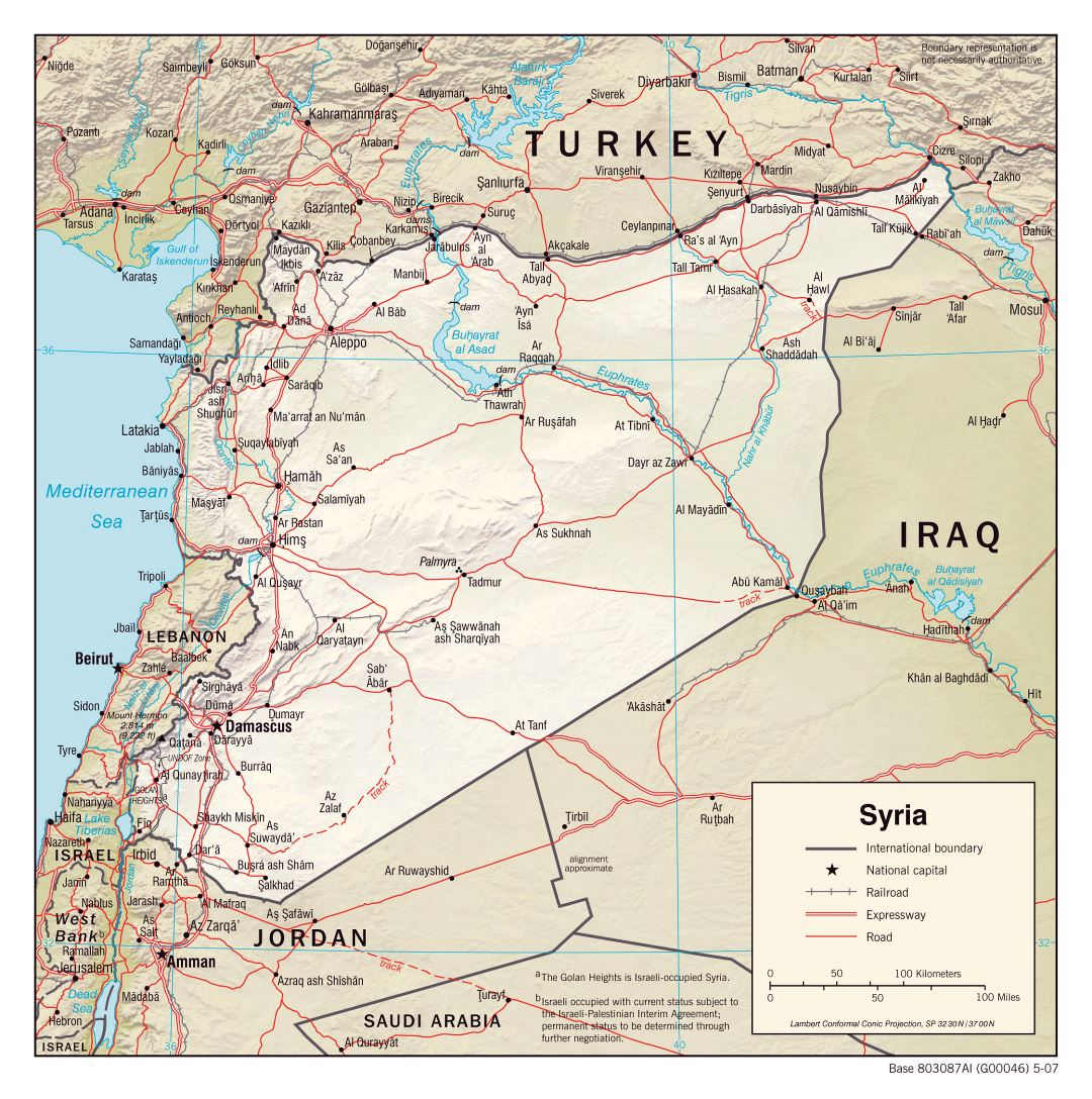 Large political map of Syria with relief, roads, railroads and cities - 2007