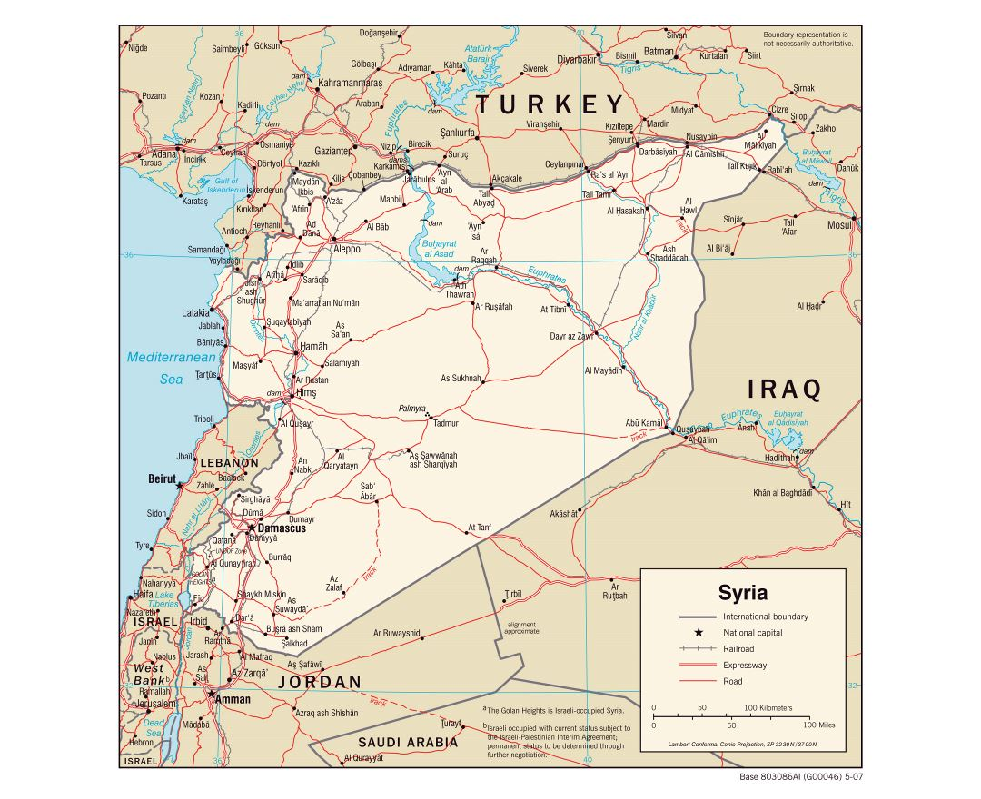 Large political map of Syria with roads, railroads and cities - 2007