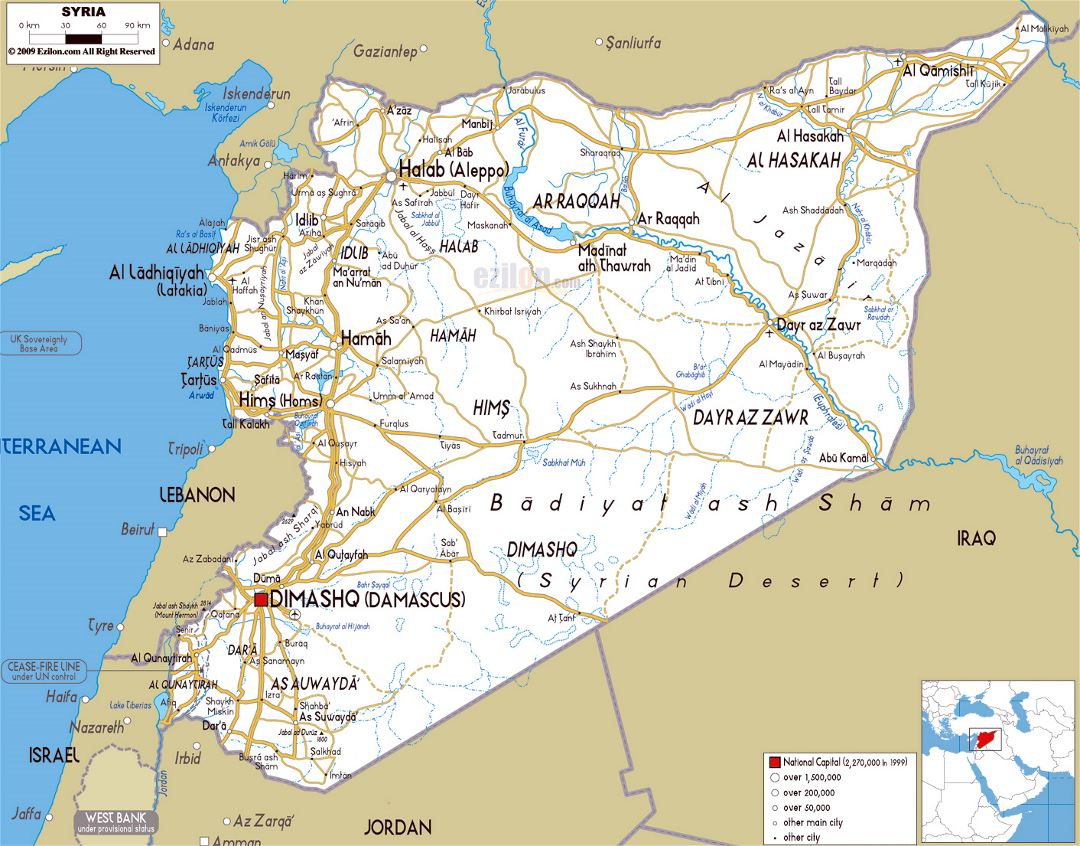Large road map of syria with cities and airports syria for Syria war template