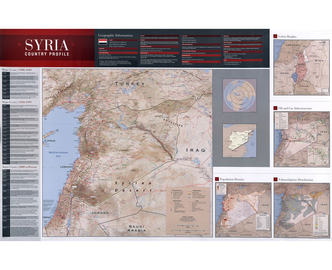 Large scale country profile map of Syria - 2011