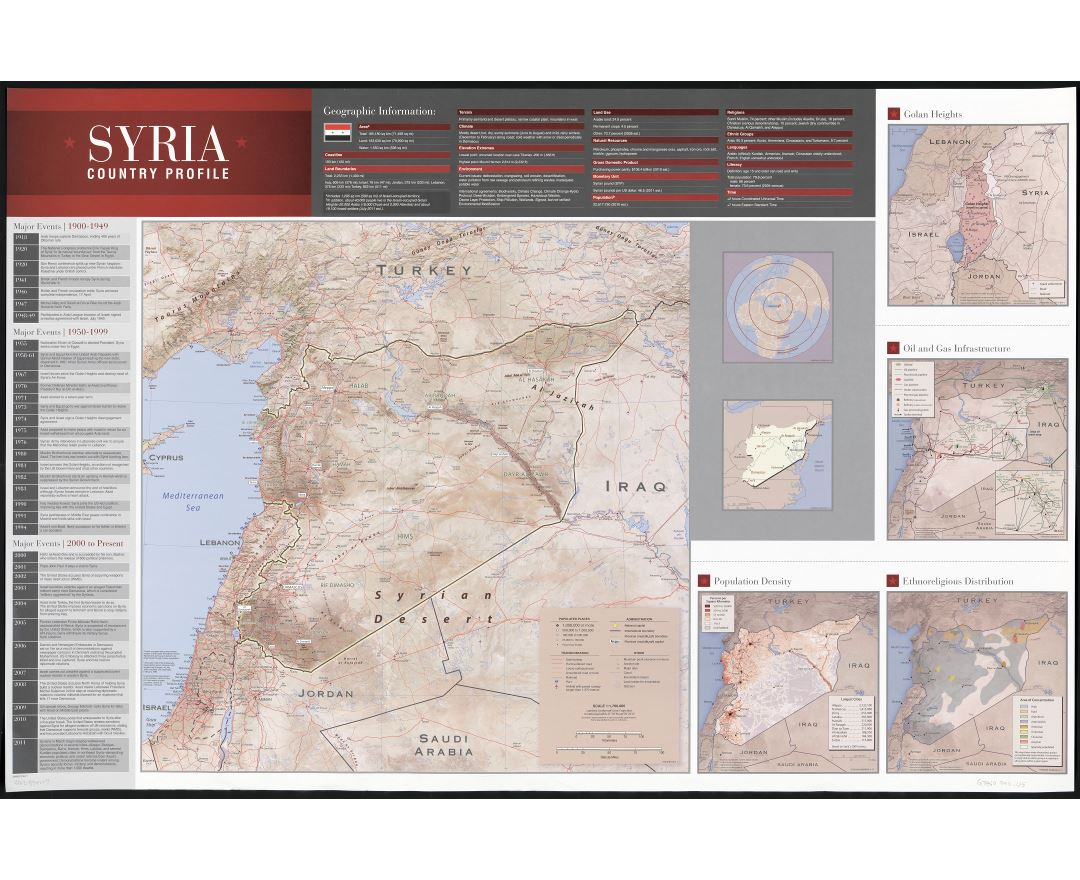 Large scale detailed country profile map of Syria with other marks - 2011