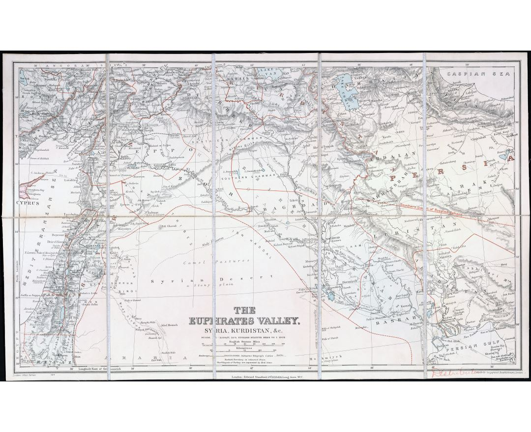 Large scale detailed old map of the Euphrates Valley, Syria and Kurdistan - 1900