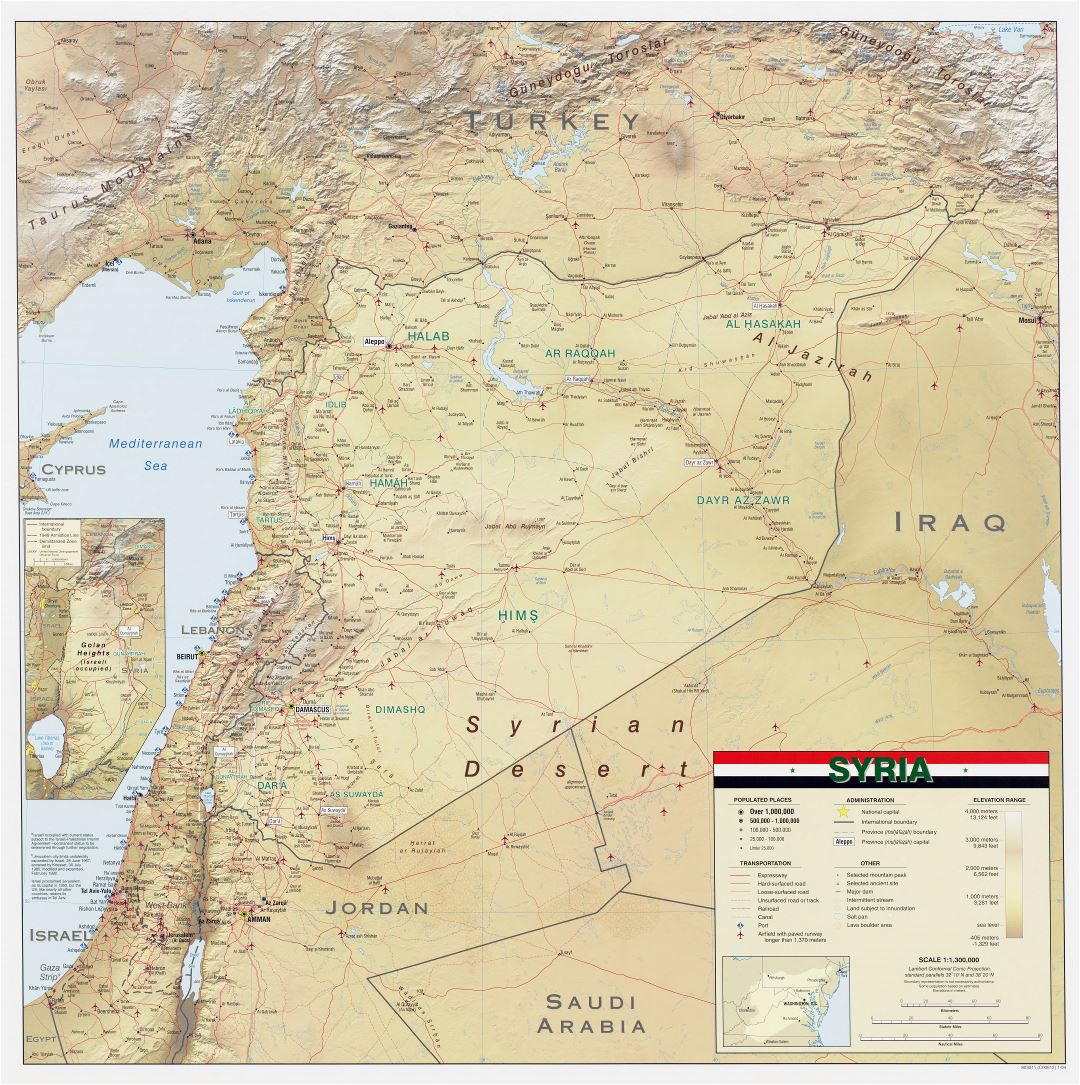 Large scale detailed wall map of Syria with relief, roads, railroads, ports, airports, cities and other marks - 2004