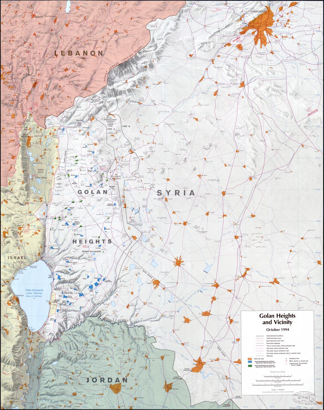Large scale map of the Golan Heights and vicinity with relief and other marks - 1994
