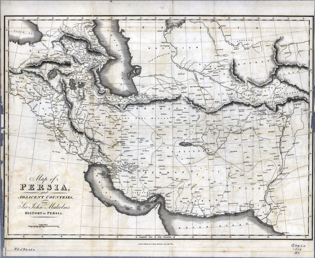 Large scale old map of Persia and adjacent countries - 1815