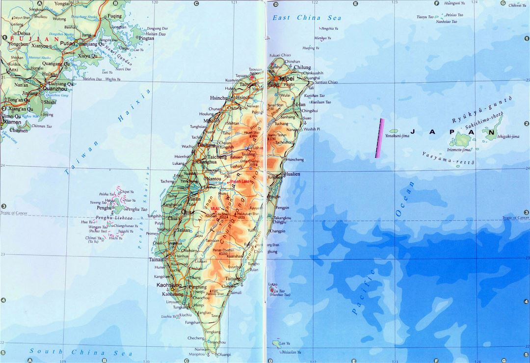 Detailed elevation map of Taiwan with roads, railroads and cities