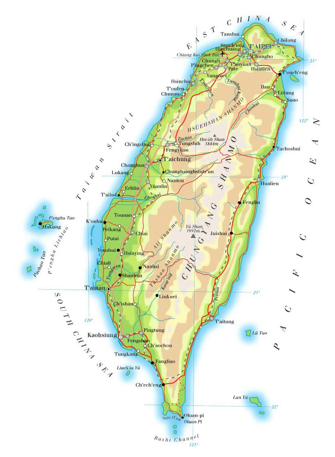 Detailed elevation map of Taiwan with roads, railroads, cities and airports