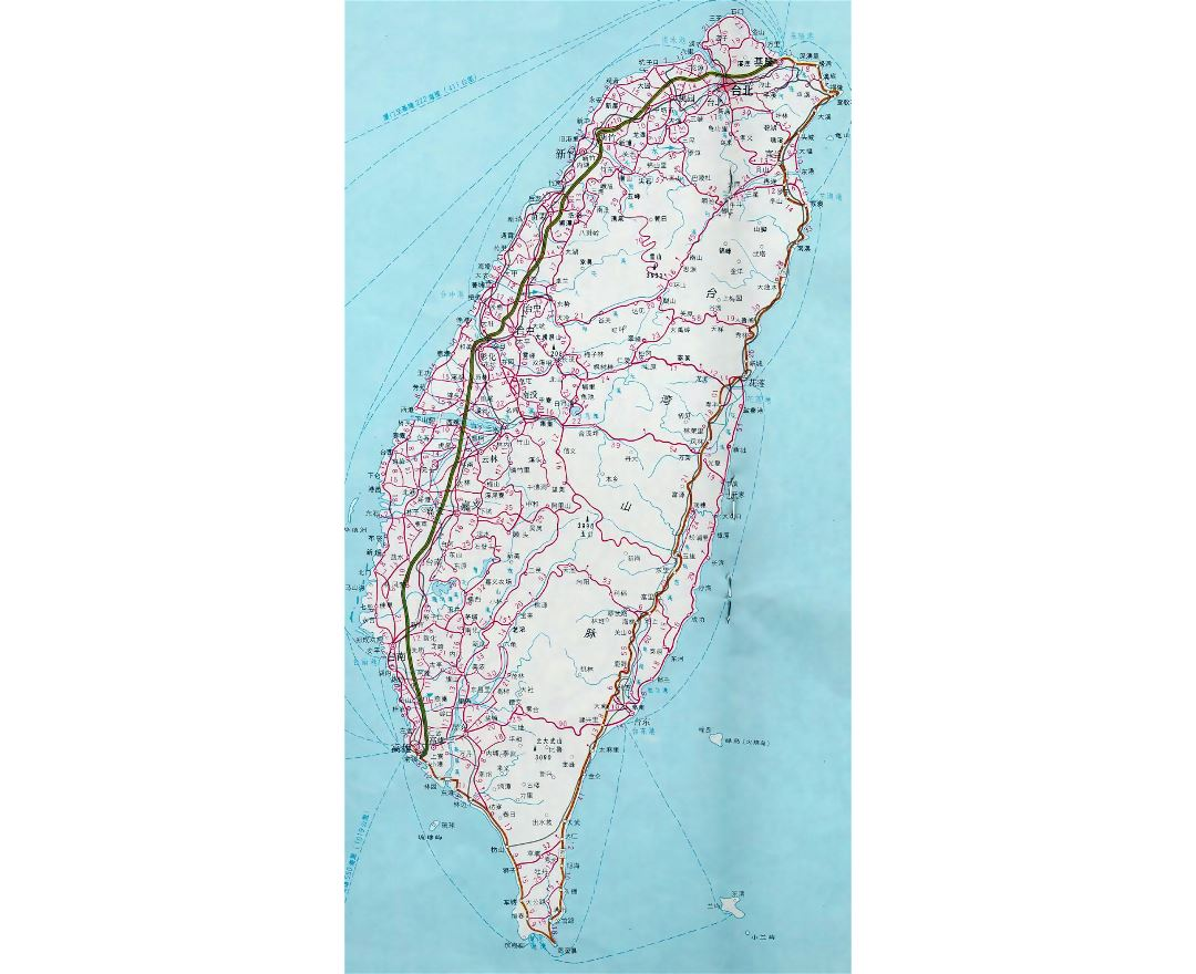Detailed map of Taiwan with roads and cities