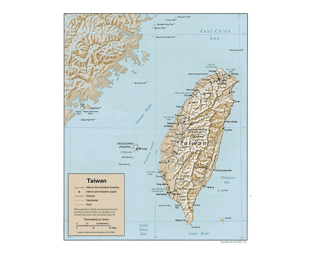 Detailed political and administrative map of Taiwan with relief, roads, railroads and major cities - 1992