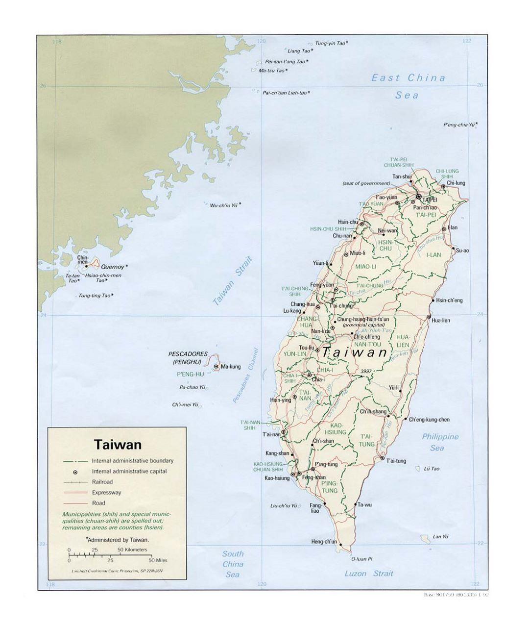 Detailed political and administrative map of Taiwan with roads, railroads and major cities - 1992