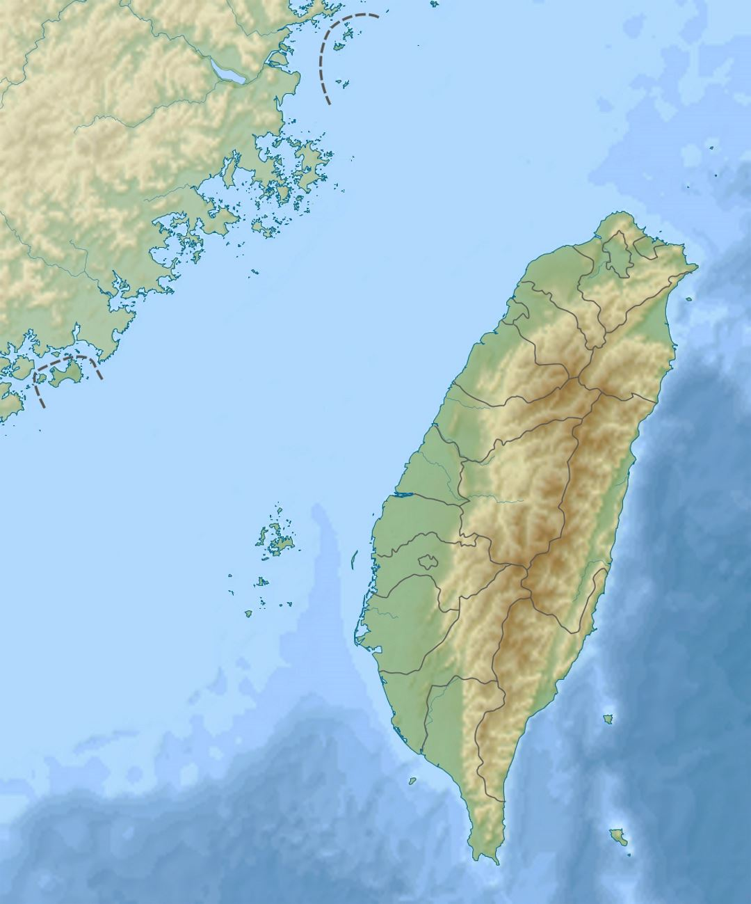 Detailed relief map of Taiwan