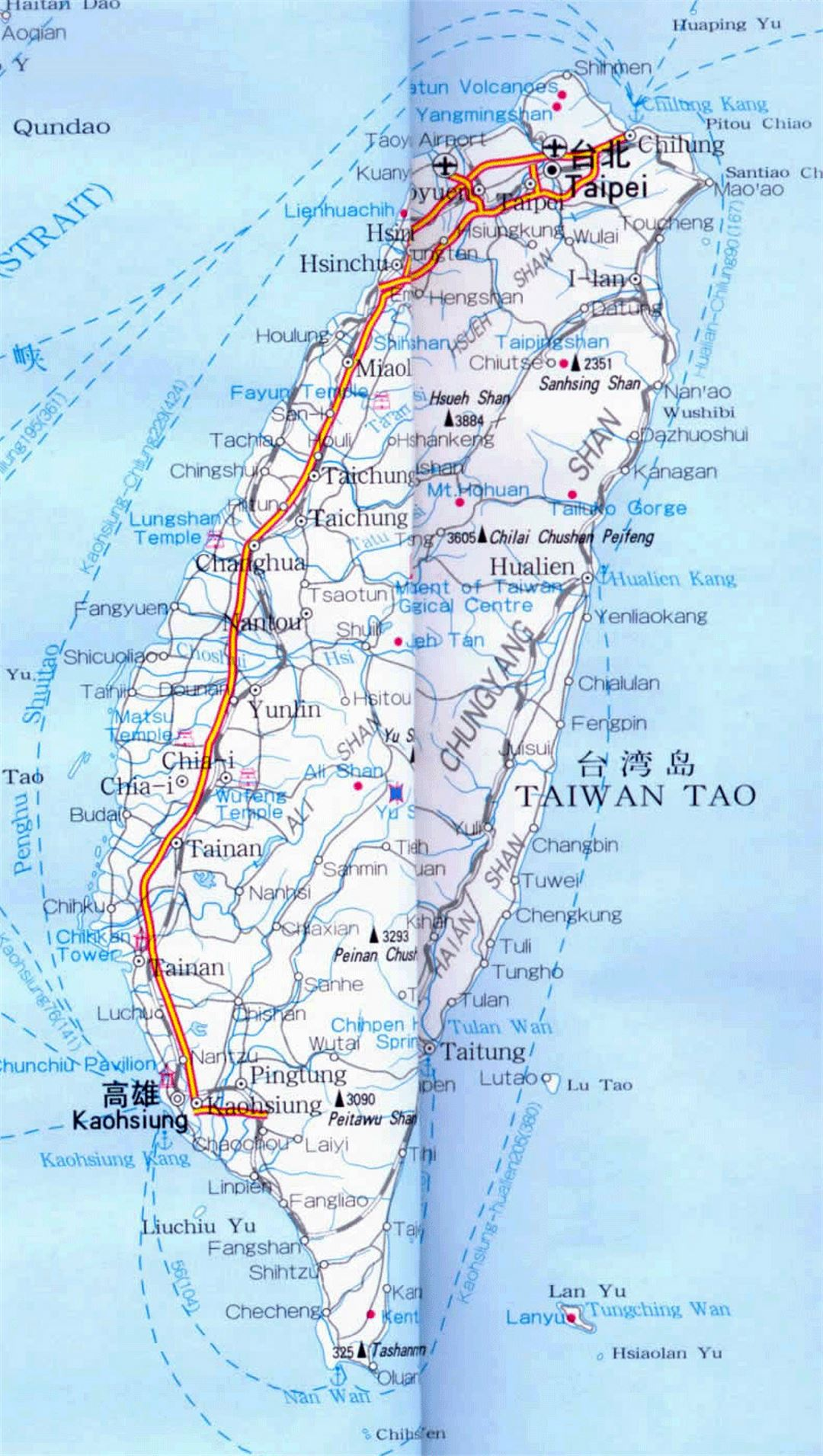 Detailed road map of Taiwan with cities and airports