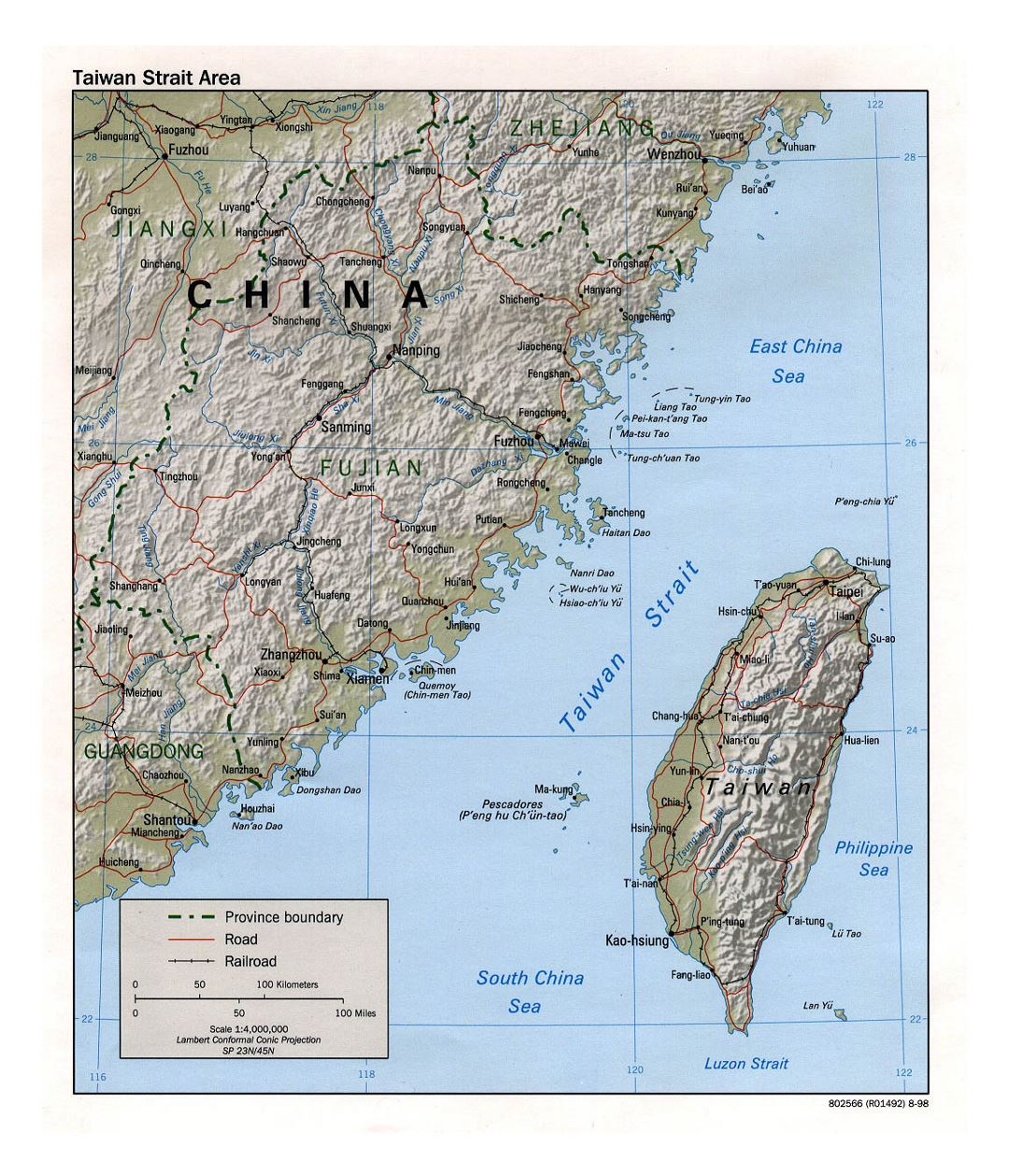 Detailed Taiwan Strait Area map with relief, roads, railroads and major cities - 1998