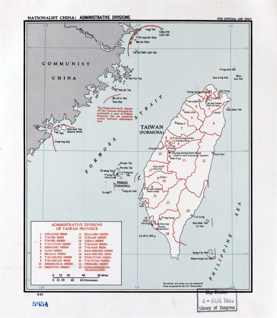 Large detailed administrative divisions map of Taiwan - 1962