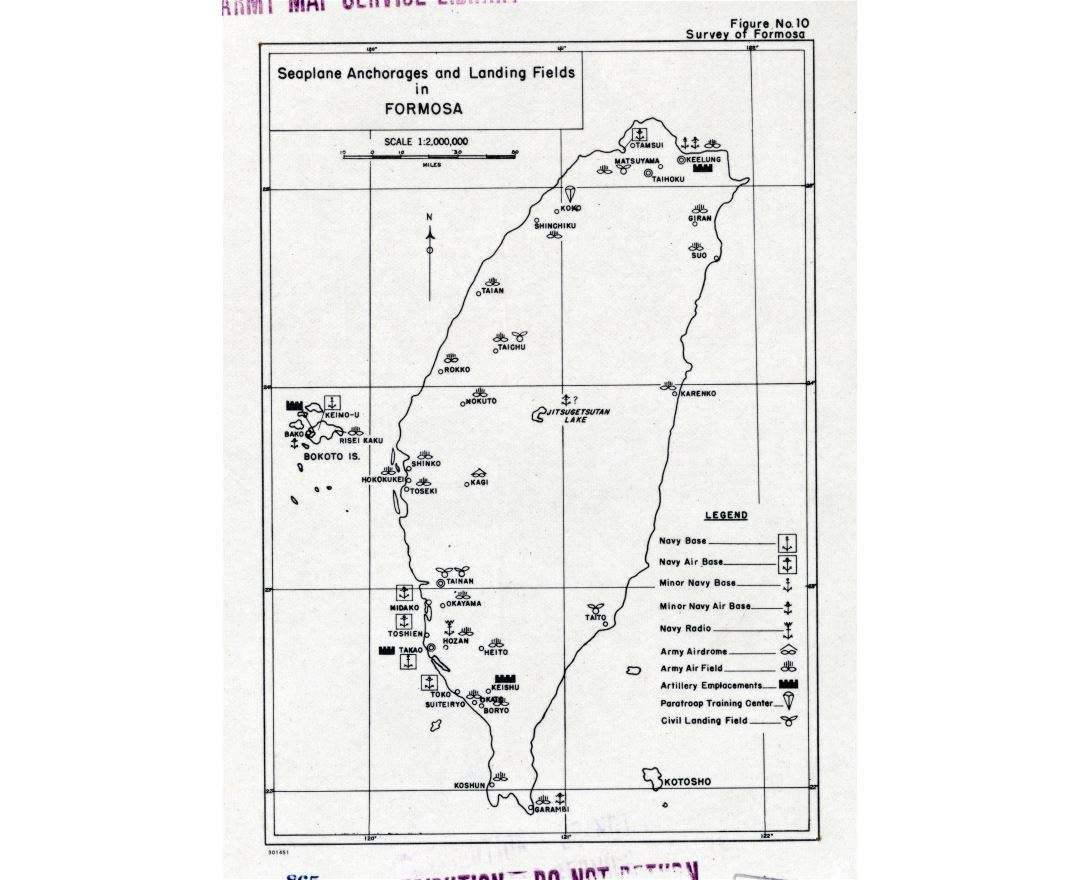 Large detailed map of Seaplane Anchorages and Landing Fields in Formosa - 195x