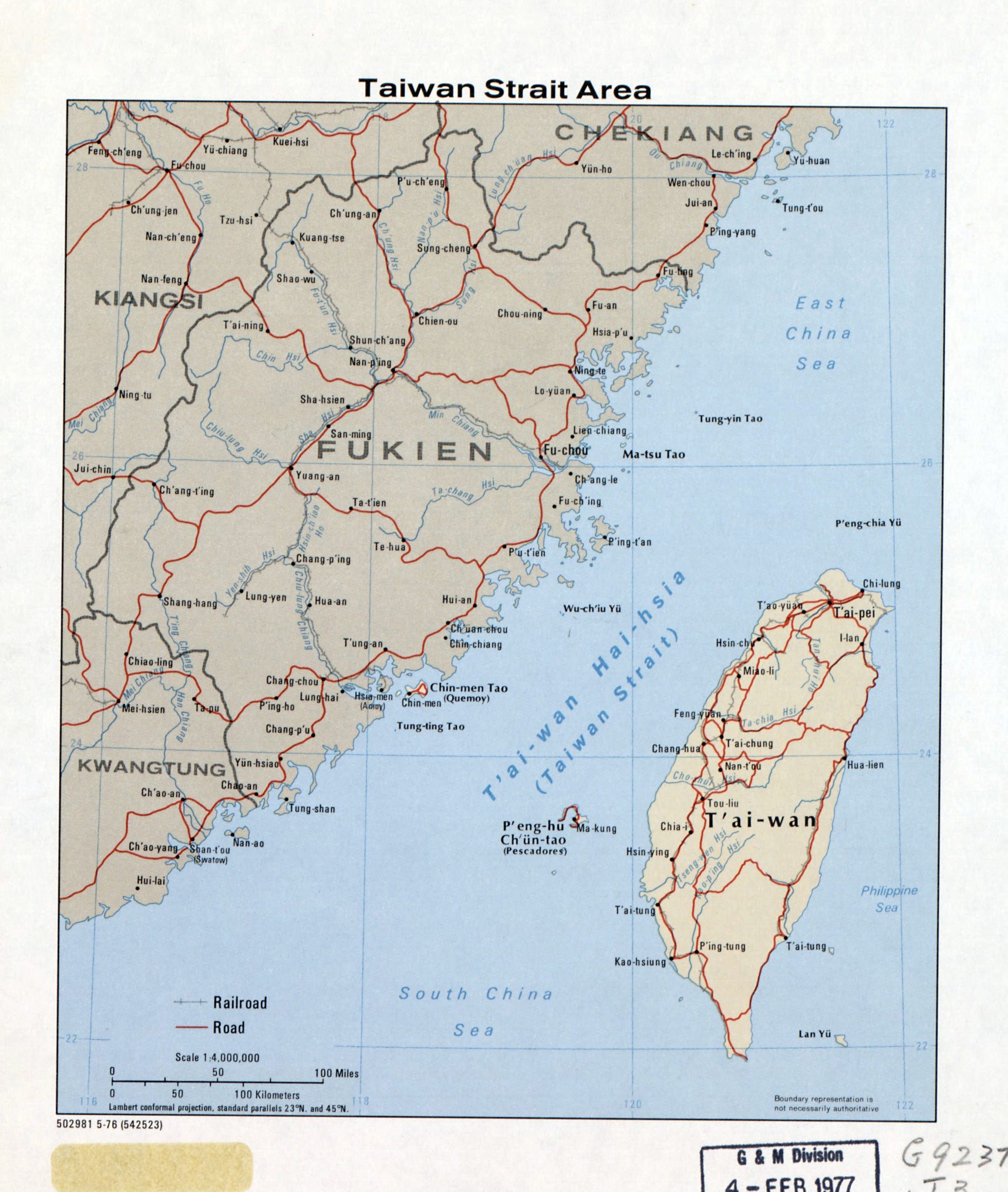 Taiwan Strait Map Large detailed map of Taiwan Strait Area with roads, railroads and