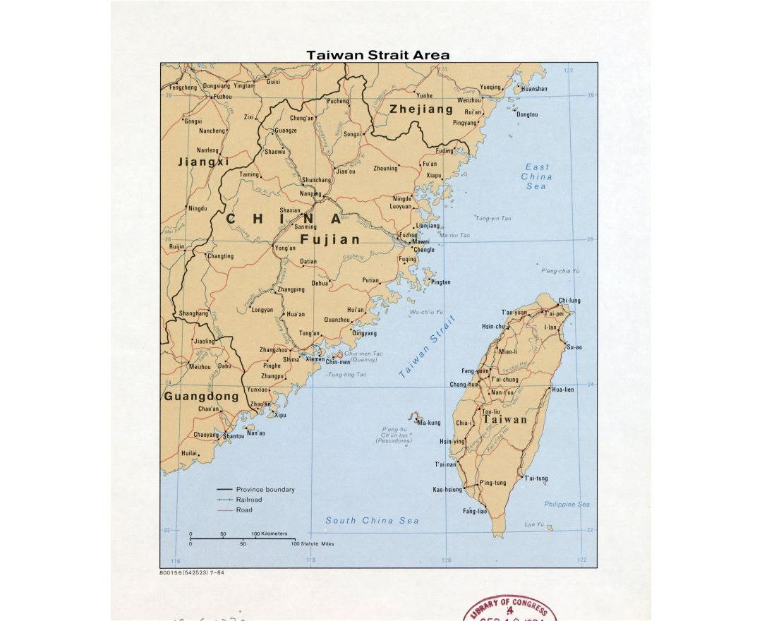 Large detailed map of Taiwan Strait Area with roads, railroads, major cities and other marks - 1984