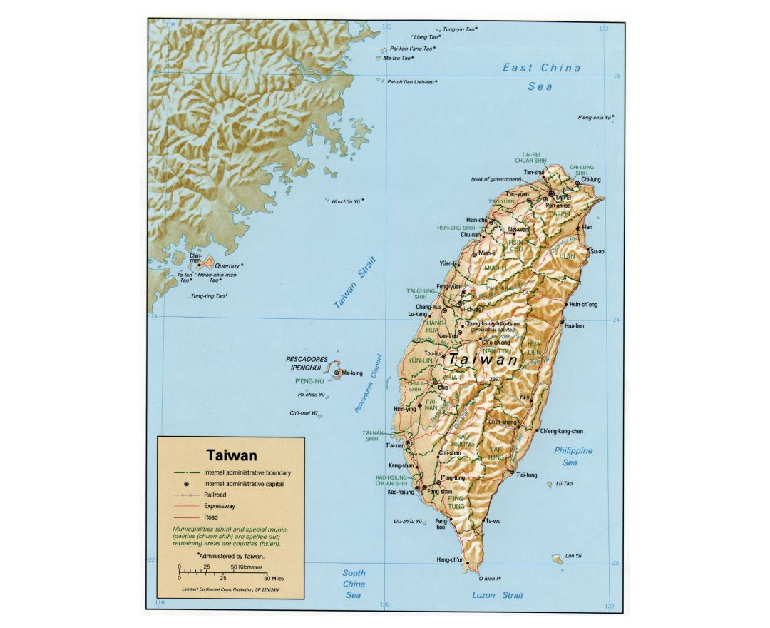 Large detailed political and administrative map of Taiwan with relief, roads, railroads and major cities - 1992
