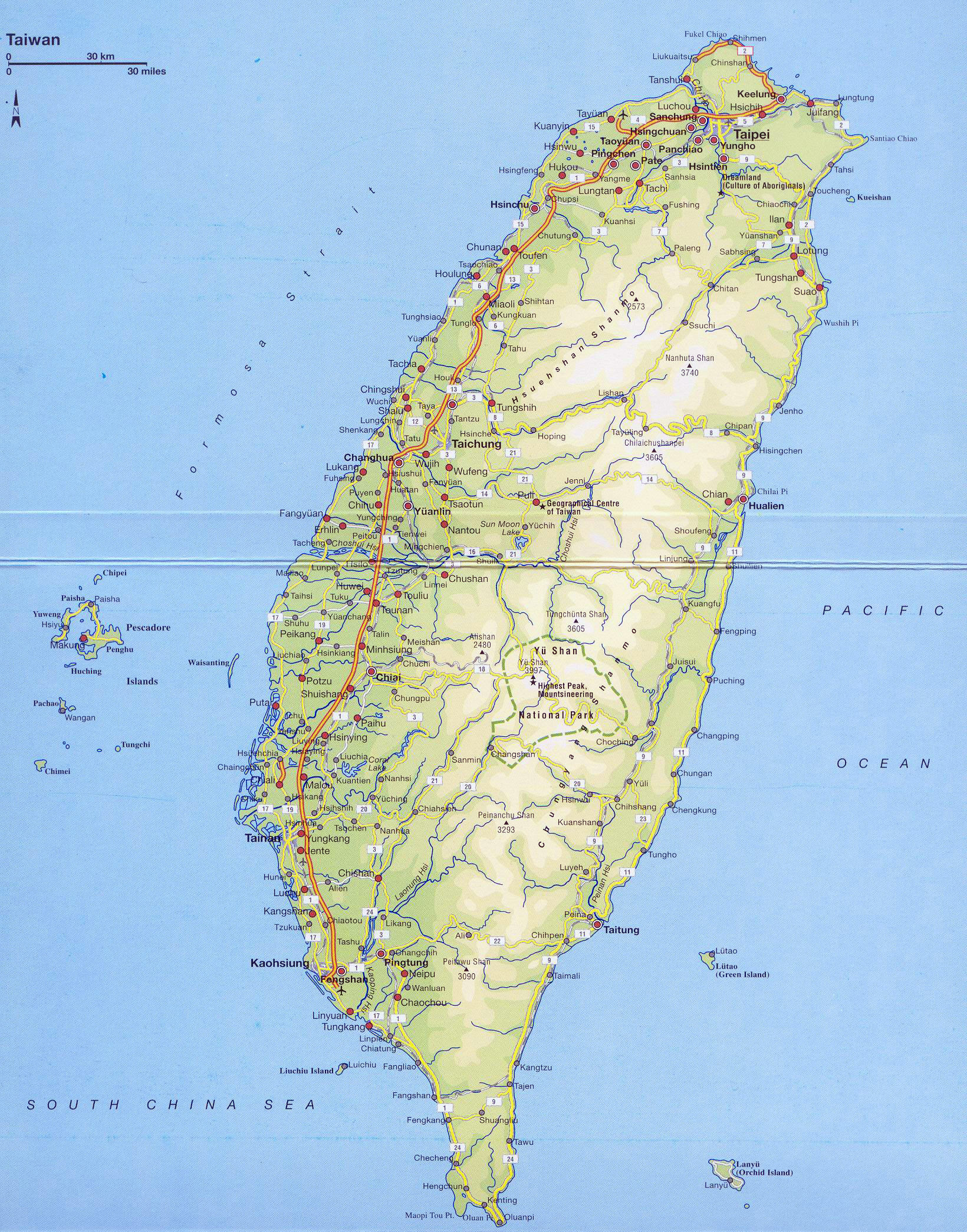 Large Detailed Road And Elevation Map Of Taiwan With All Cities And