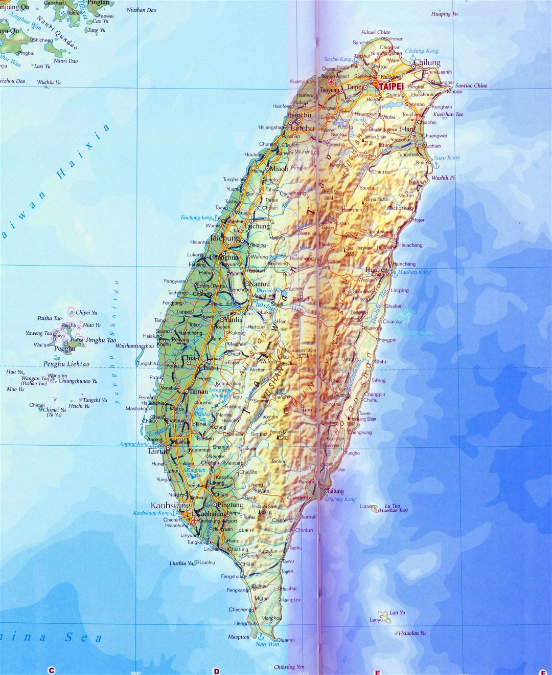 Large detailed road map of Taiwan with relief, all cities and other marks