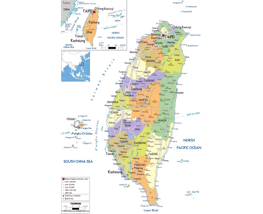 Large political and administrative map of Taiwan with roads, cities and airports