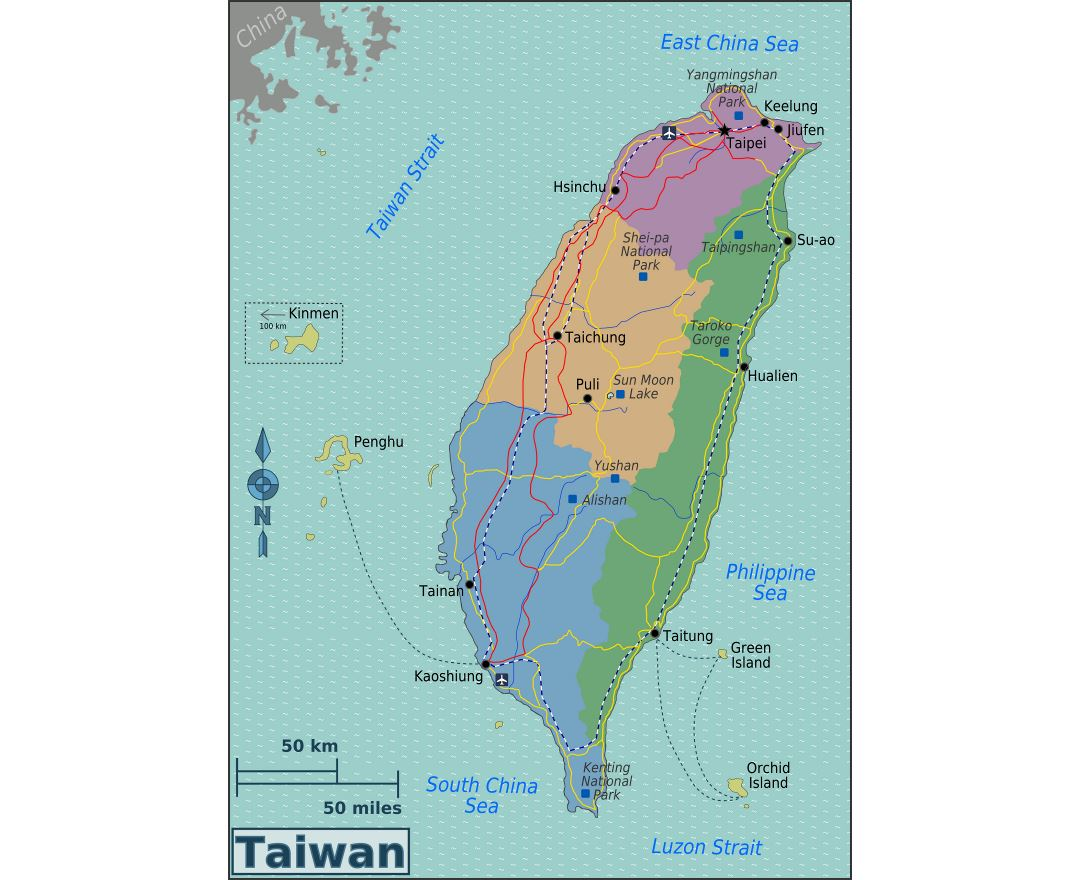 Large regions map of Taiwan