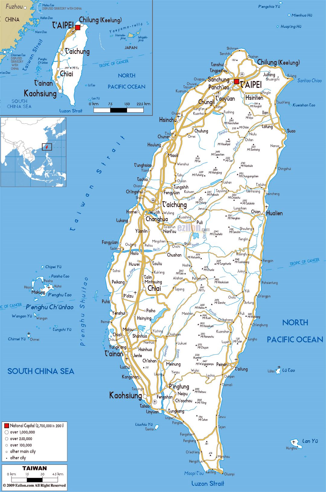 Large road map of Taiwan with cities and airports