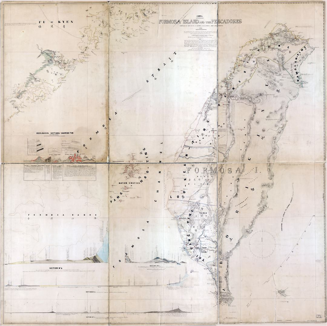Large scale detailed old map of Formosa island (Taiwan) and the pescadores - 1870