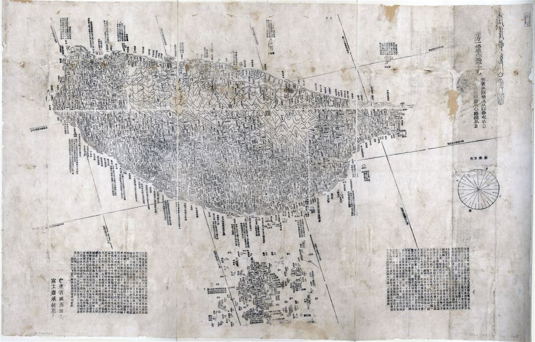 Large scale detailed old map of Taiwan - 1878