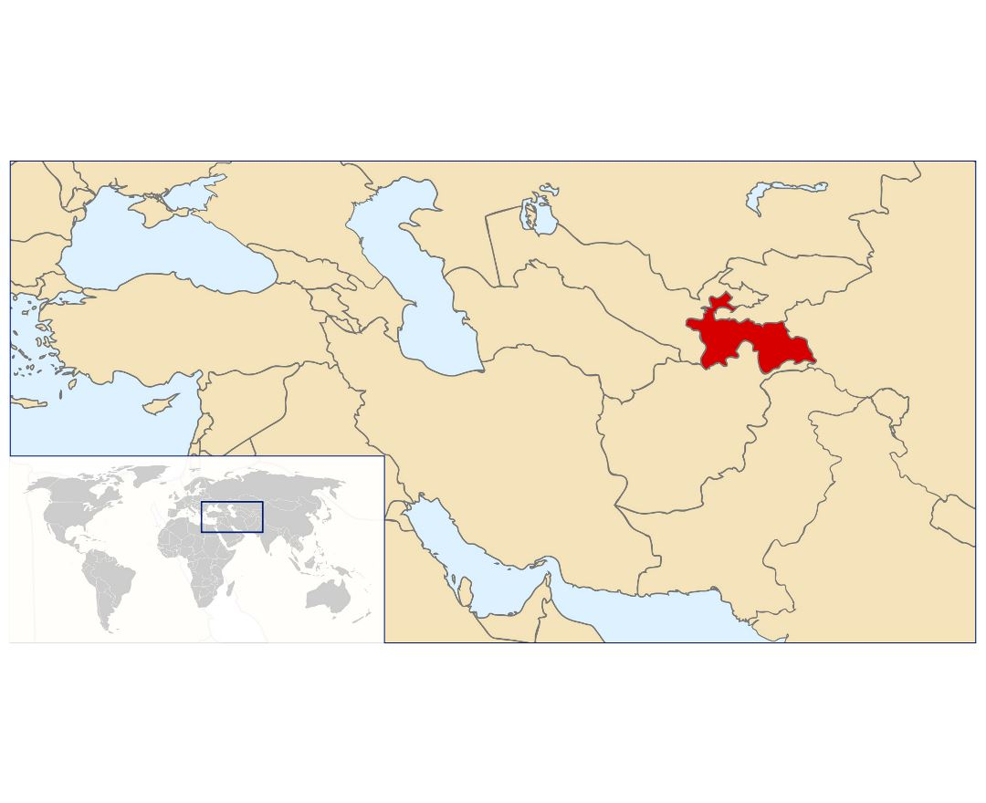 Detailed location map of Tajikistan