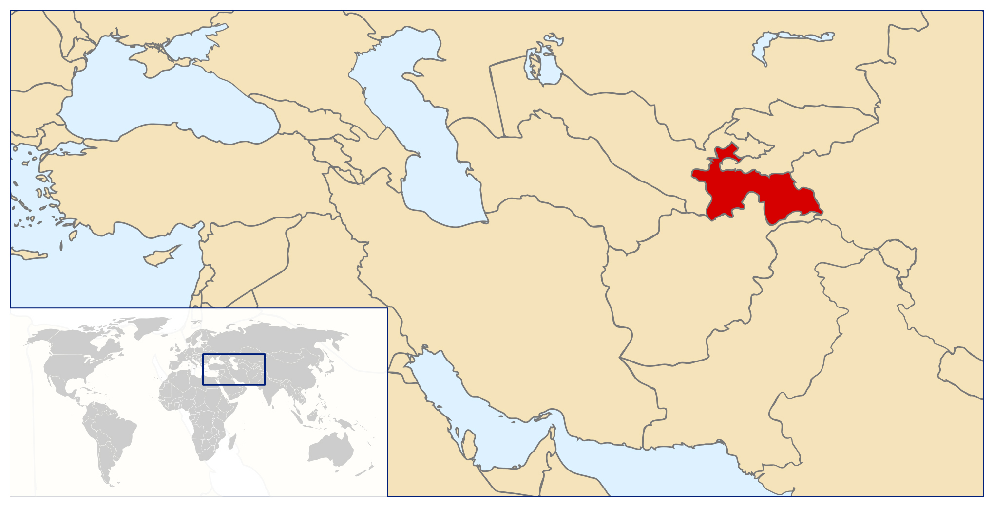 Detailed location map of Tajikistan Tajikistan Asia Mapsland