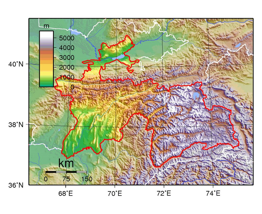 Detailed physical map of Tajikistan