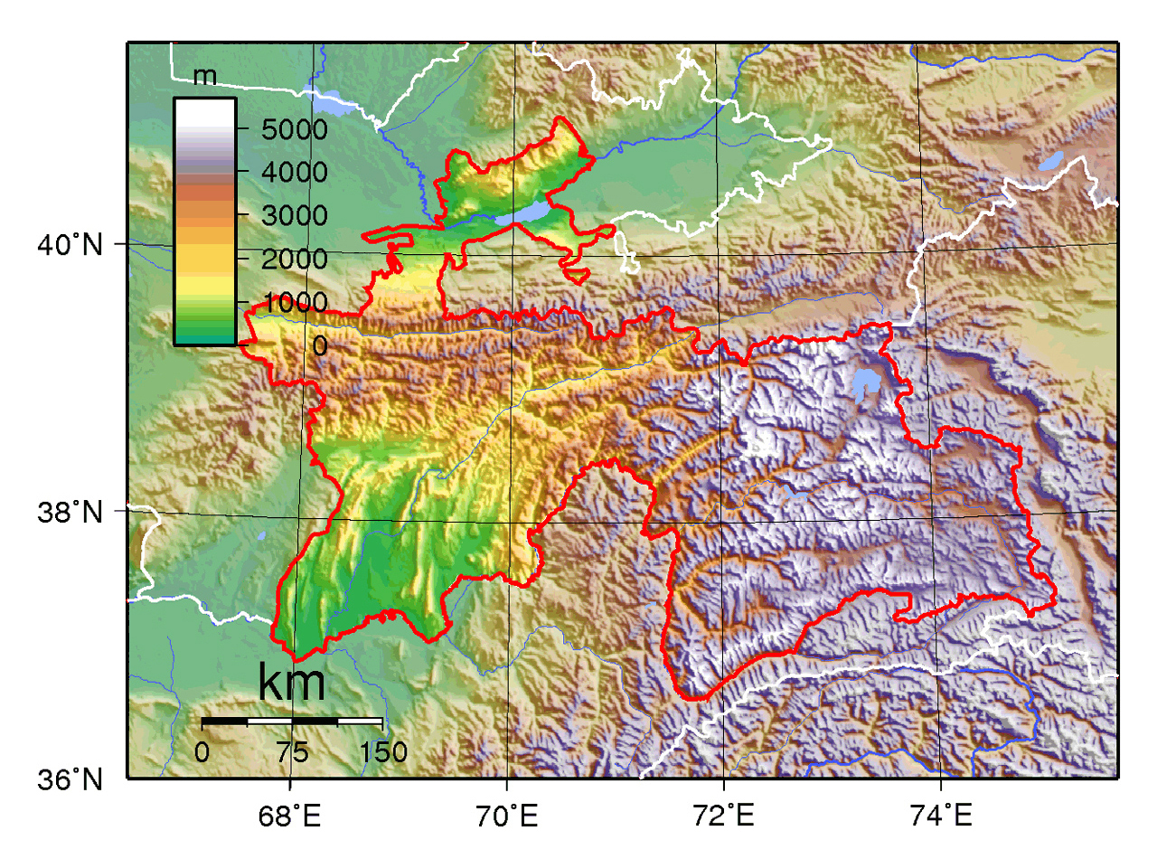 Detailed physical map of Tajikistan Tajikistan Asia Mapsland