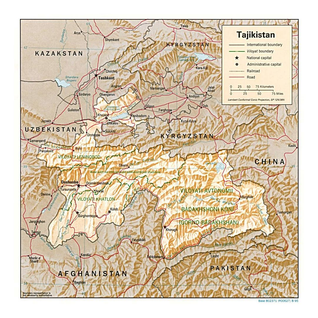 Detailed political and administrative map of Tajikistan with relief, roads, railroads and major cities - 1995