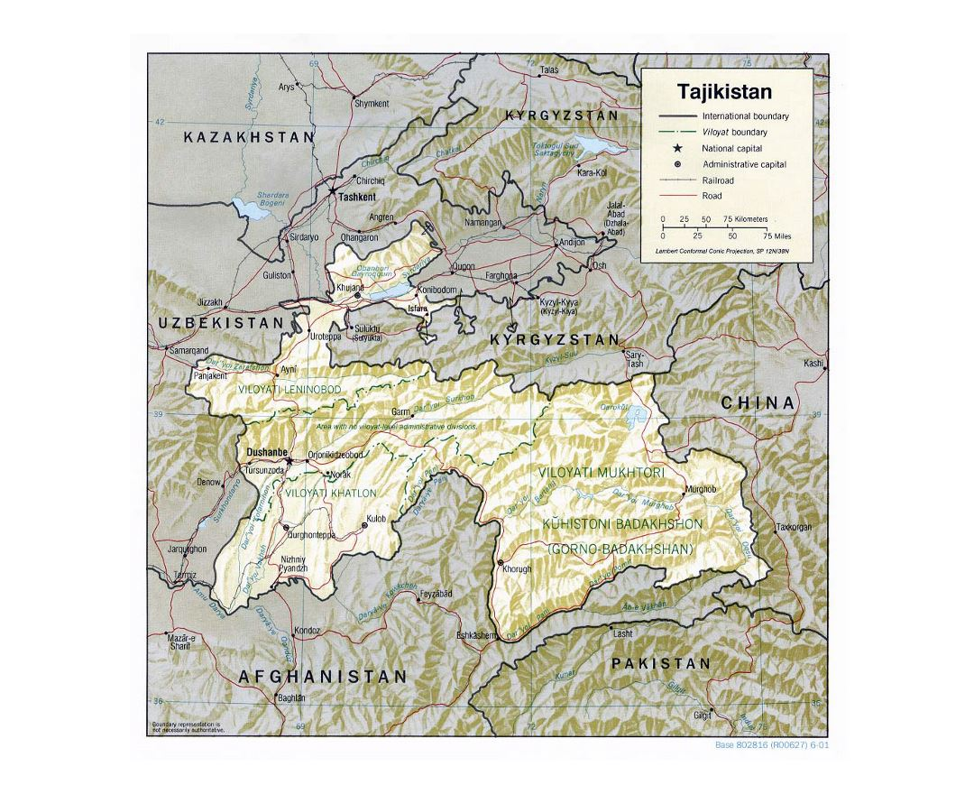 Detailed political and administrative map of Tajikistan with relief, roads, railroads and major cities - 2001