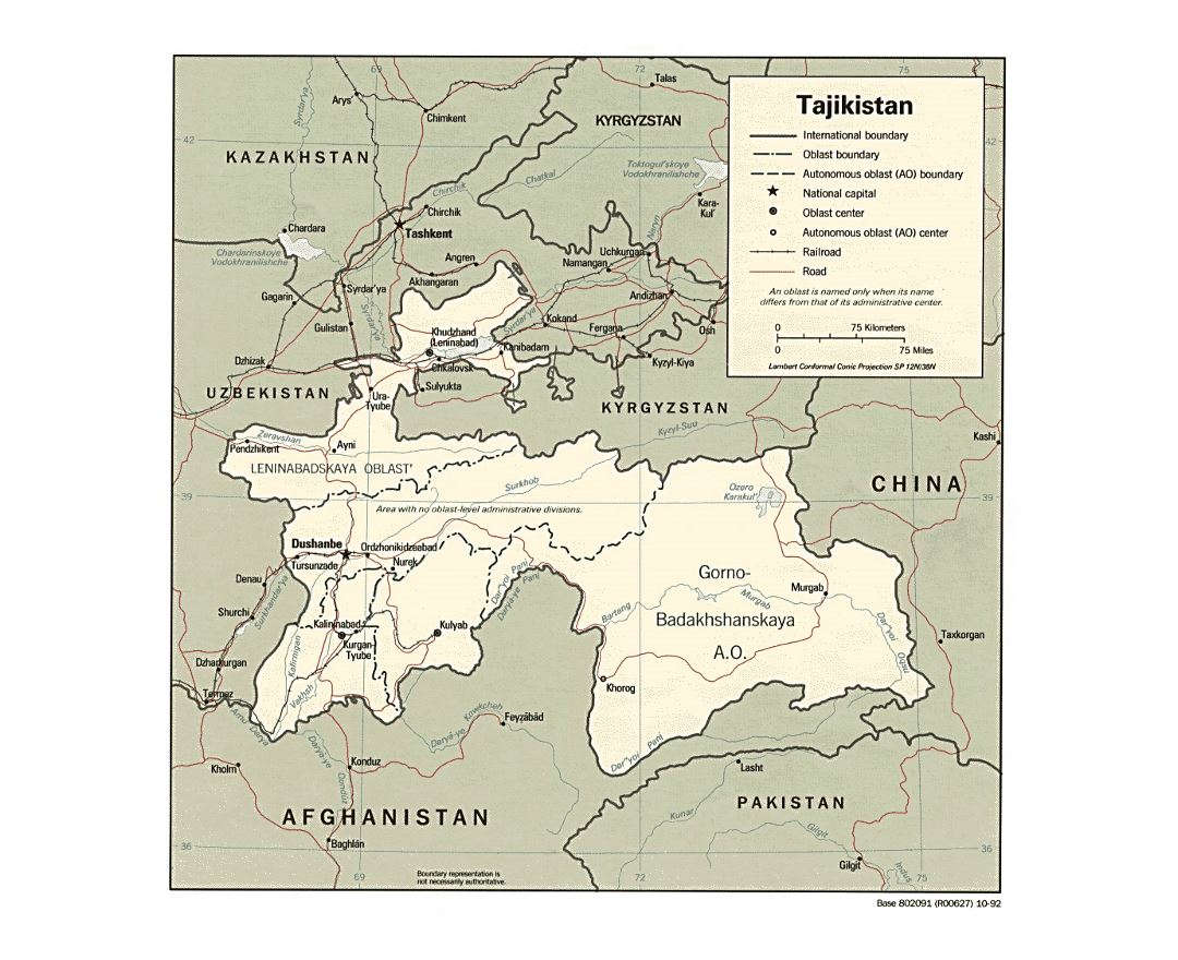 Detailed political and administrative map of Tajikistan with roads, railroads and major cities - 1992
