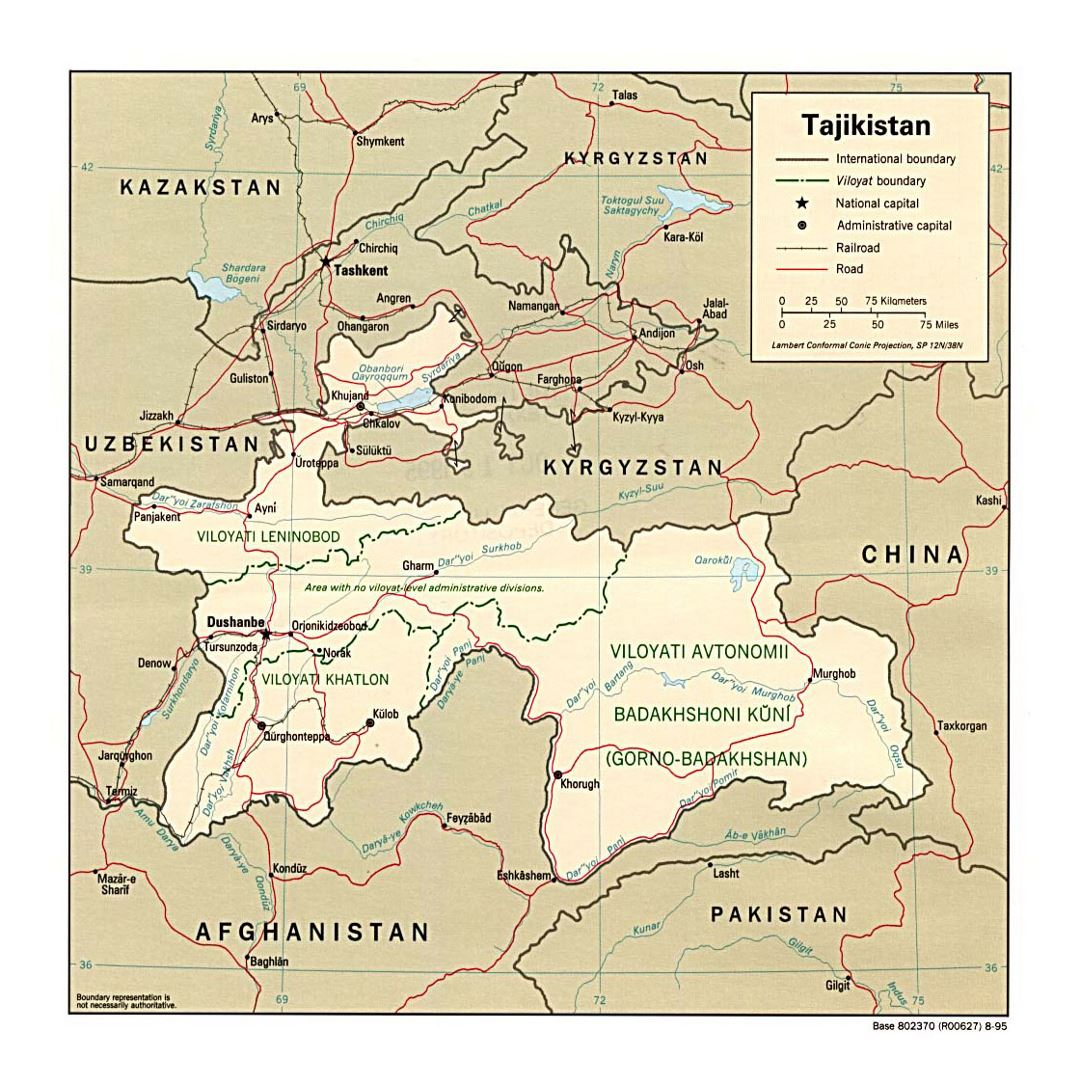 Detailed political and administrative map of Tajikistan with roads, railroads and major cities - 1995