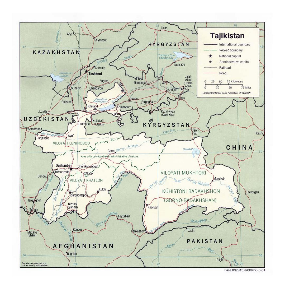 Detailed political and administrative map of Tajikistan with roads, railroads and major cities - 2001