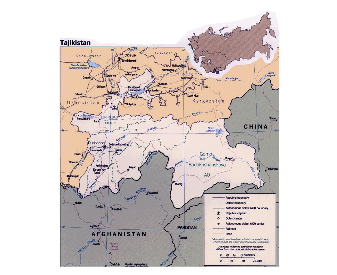 Detailed political and administrative map of Tajikistan with roads, railroads and major cities
