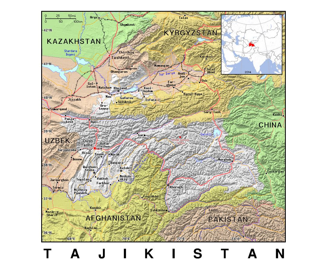 Detailed political map of Tajikistan with relief