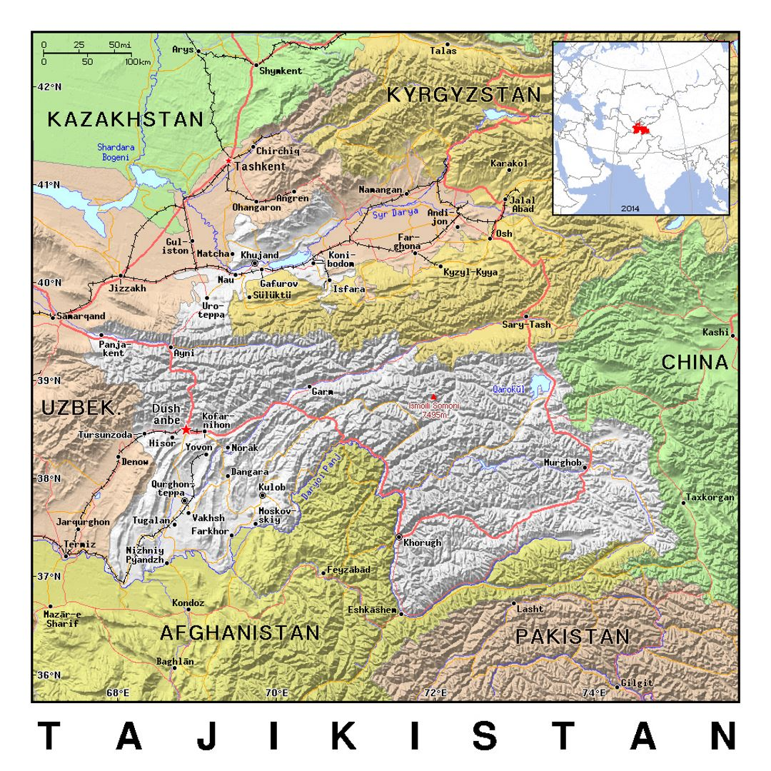 Detailed Political Map Of Tajikistan With Relief Tajikistan - World political map 2014